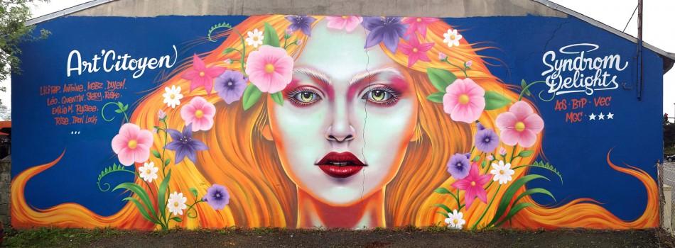 Fresque de 4 m x 12 m réalisée dans le cadre du festival Springtime Delights à La Rochelle (17)
