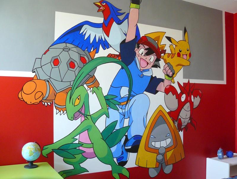 Fresque murale réalisée aux pinceaux
