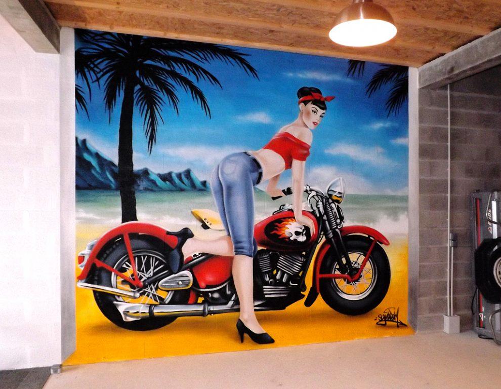 Fresque-garage-déco-vintage-harley-pinup