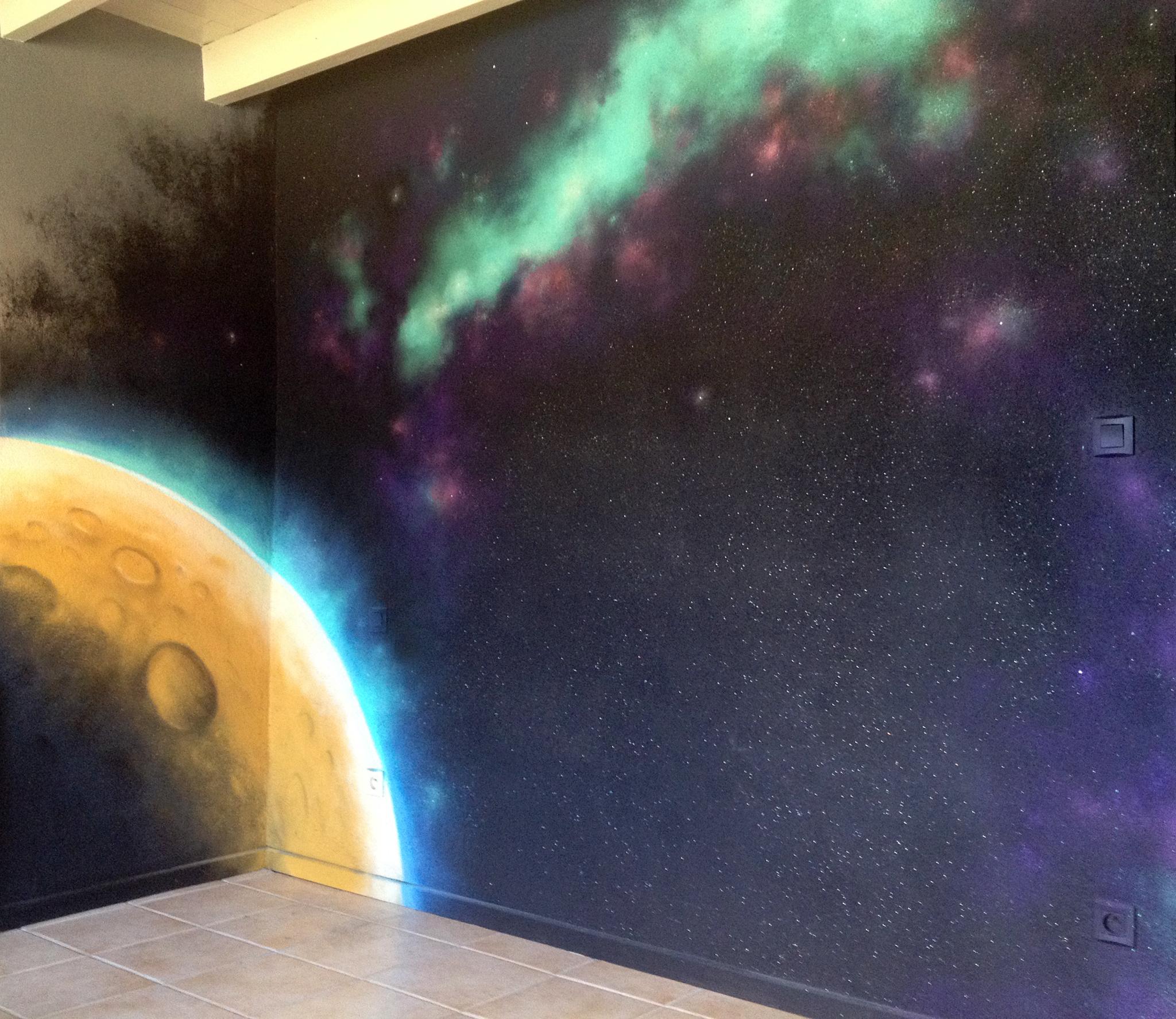 Peinture Tag Pour Chambre syndrom art » déco/fresques, graffiti » espace, planète et