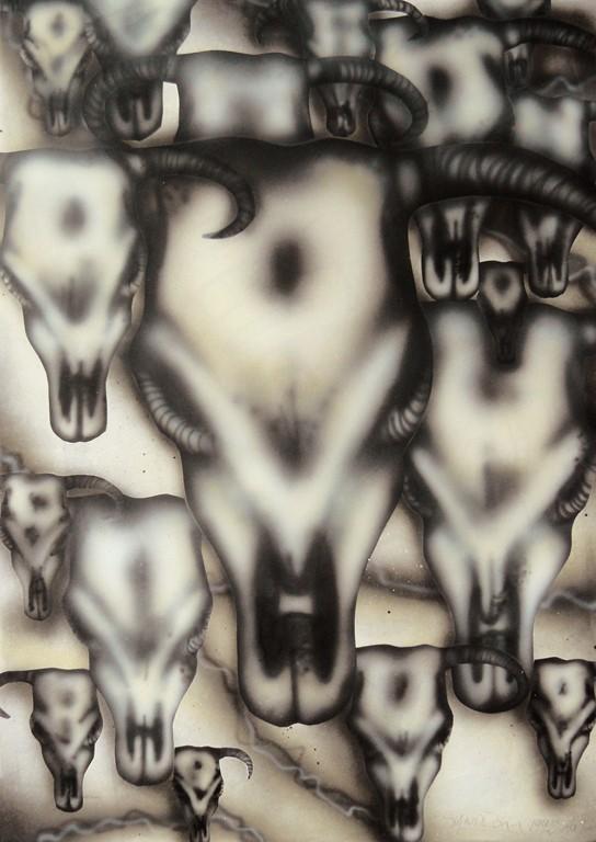 """""""Buffalo skulls"""" 29,7 x 42 cm"""
