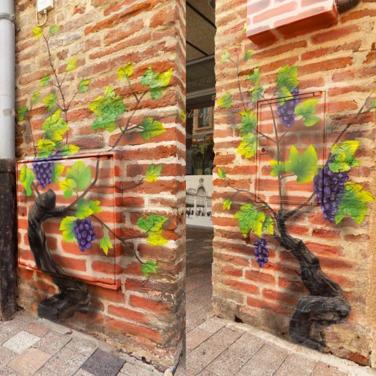 Peinture décorative, vignes en trompe l'œil