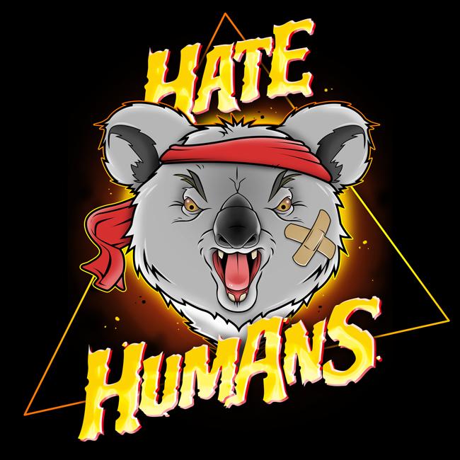 """Projet d'illustration sur le thème des Koalas d'Australie et logo design de marque """"Hate Humans"""""""
