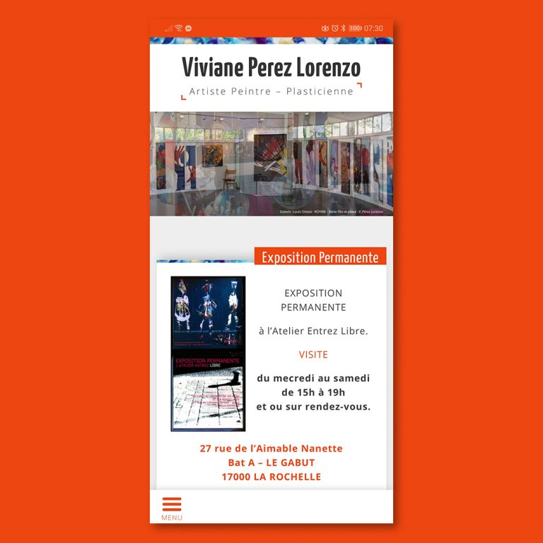 Version smartphone du site web réalisé pour Viviane Perez Lorenzo