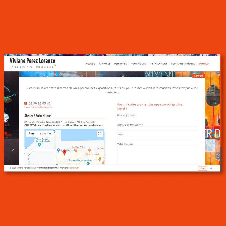 Version portable et ordinateur du site web réalisé pour Viviane Perez Lorenzo