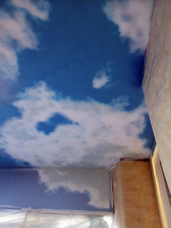 Fresque murale, faux ciel du plafond du SPA de l'Hôtel Du Barry