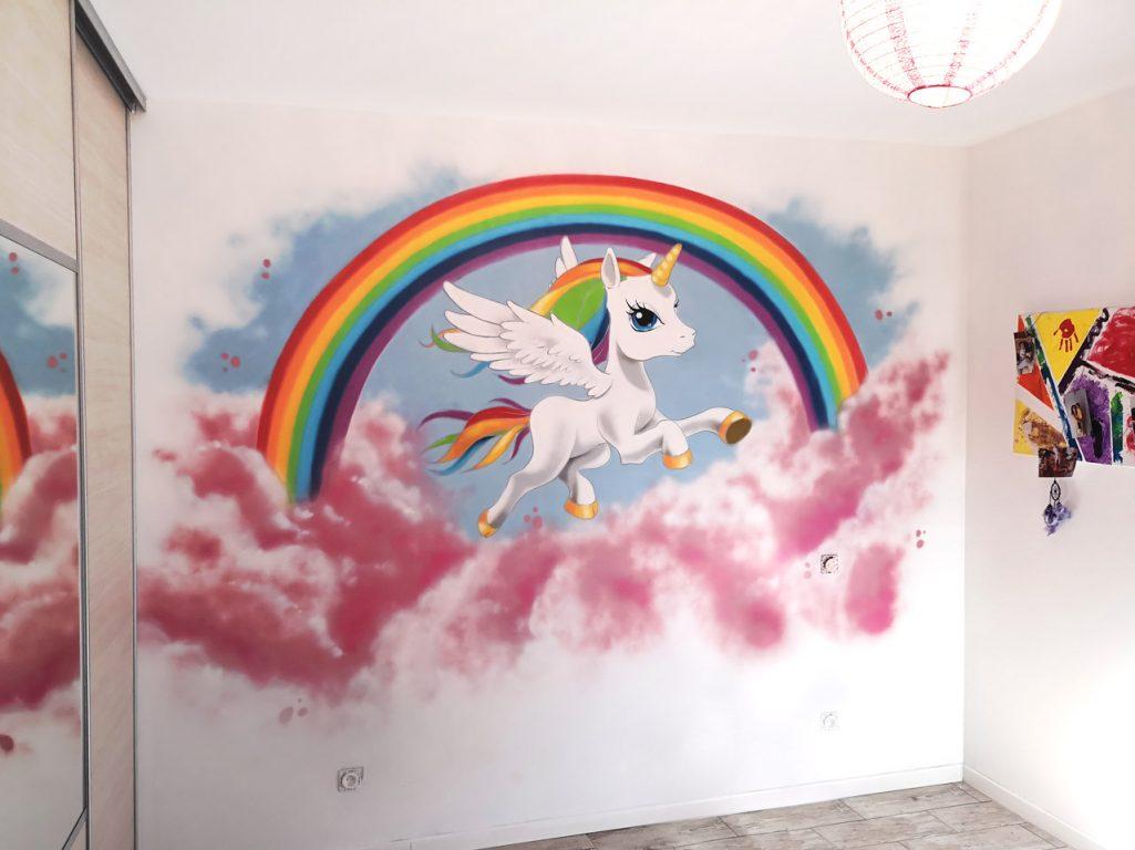 décoration fresque chambre fille licorne arc-en-ciel