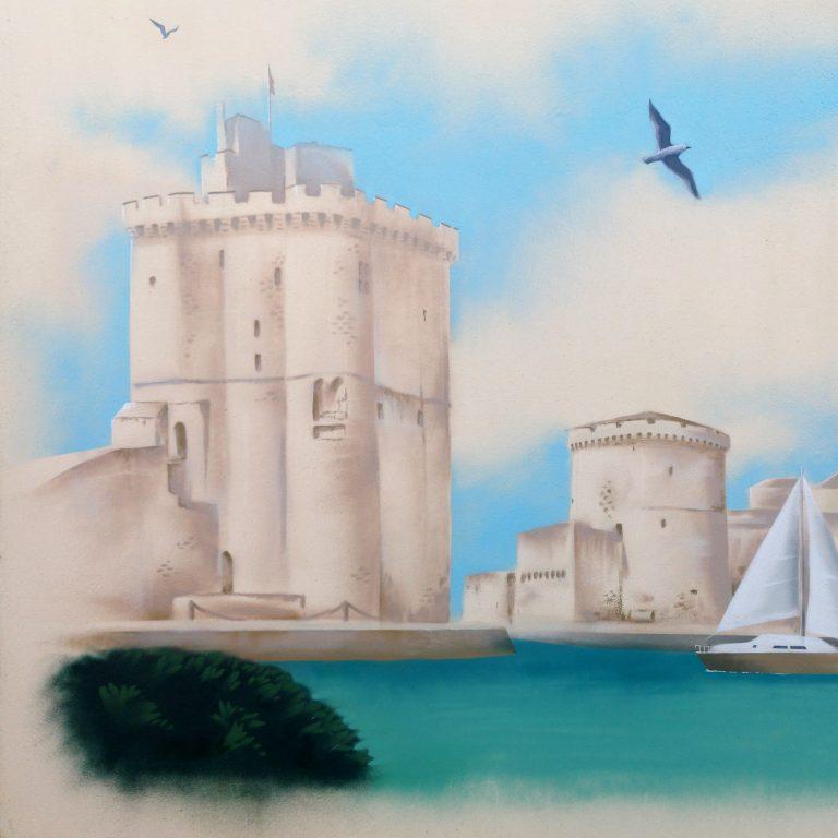 Peinture décorative sur façade - Les tours et le phare de La Rochelle