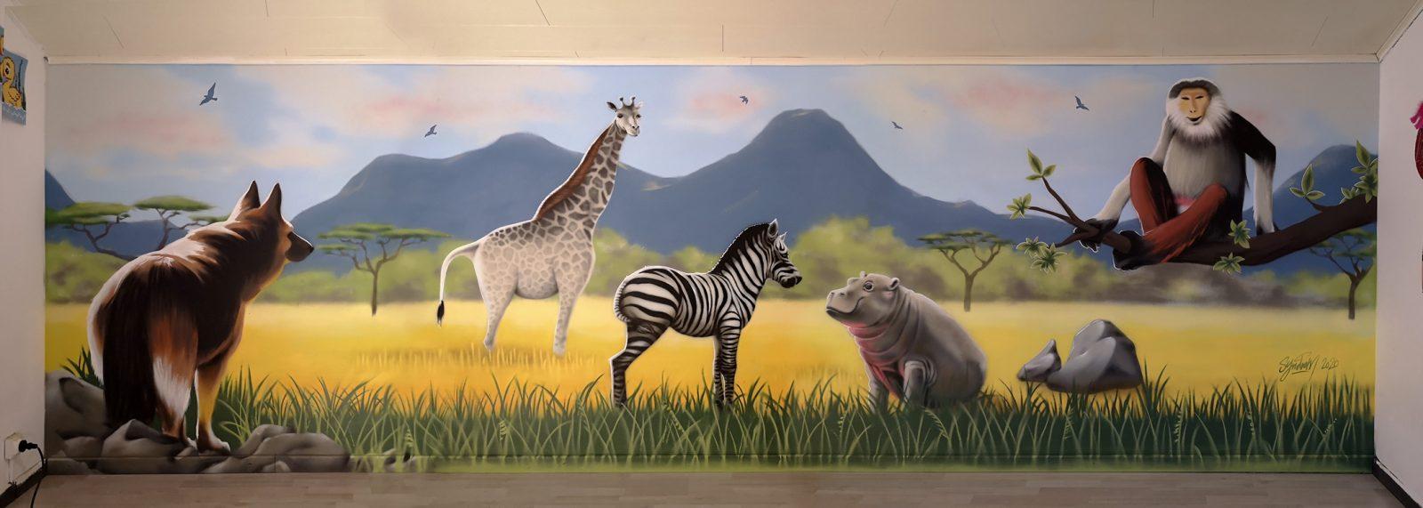 Fresque murale réalisée à l'aérosol et aérographe