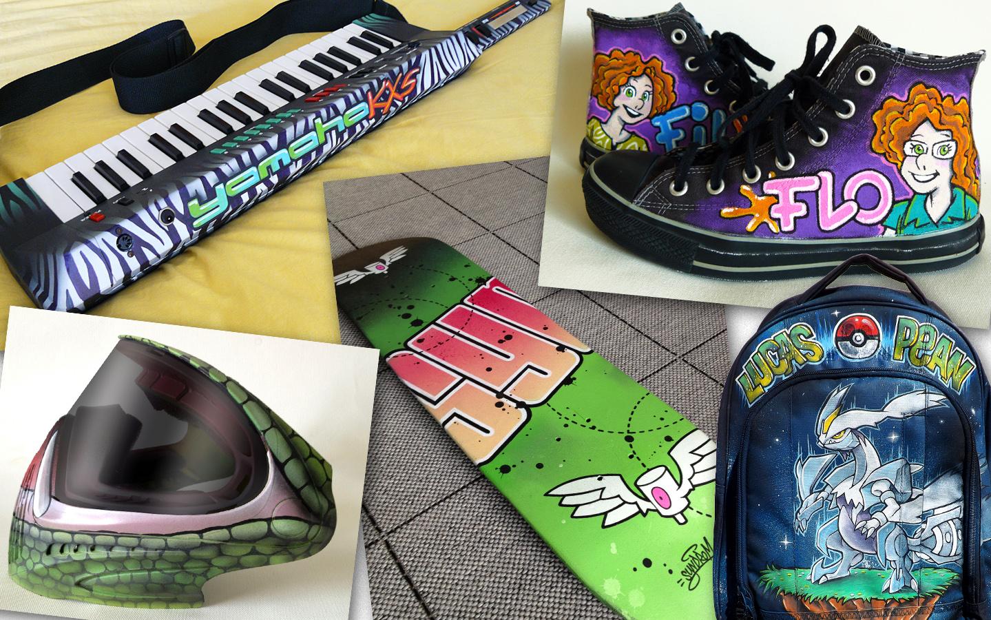 Customisation personnalisée sur tout support : Basket, sac à dos, planche, casque, casquette...