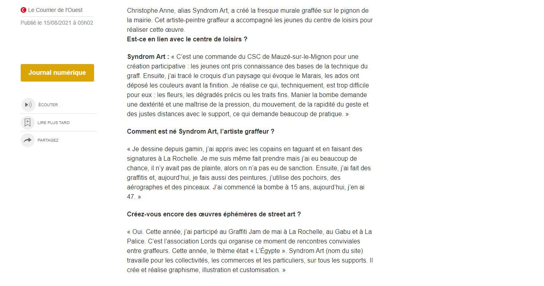 """""""Saint-Hilaire-la-Palud. Syndrom Art manie la bombe en centre-bourg"""" - Courrier de l'Ouest 08/2021"""
